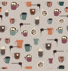 collection of hot cocoa and hot chocolate mugs on vector image