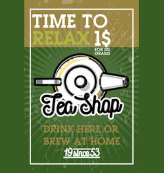 color vintage tea shop banner vector image