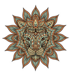 colorful lion mandala vector image vector image