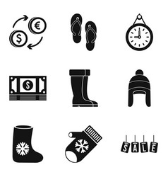 Commercial area icons set simple style vector