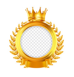 crown and laurel wreath realistic frame vector image