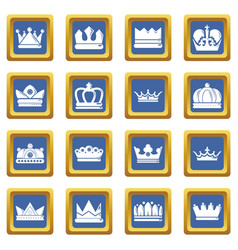 crown gold icons set blue square vector image