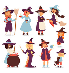 Cute little witch with broom cartoon cat for print vector