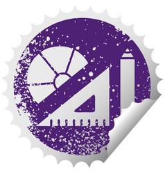 Distressed circular peeling sticker symbol maths vector