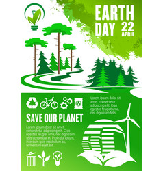 earth day banner save our planet concept design vector image