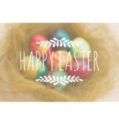Easter greetings on a blurred background with vector image
