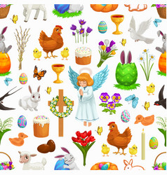 easter seamless pattern holiday background vector image