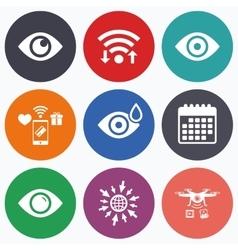 Eye signs Eyeball with water drop symbols vector image