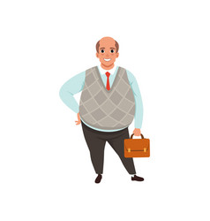 Fat businessman with bald head holding brown vector