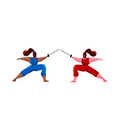 Fencing women mask training duel swordswoman gym vector