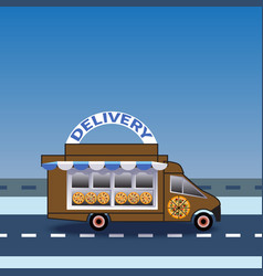Food and pizza delivery truck rides on road vector