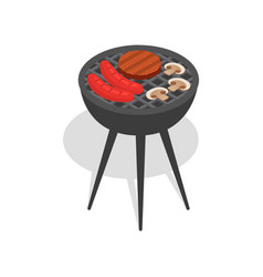 Food on bbq stand icon isometric style vector