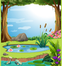 Forest scene with fish in the pond vector
