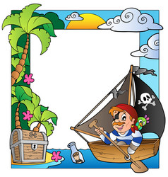 frame with sea and pirate theme 5 vector image