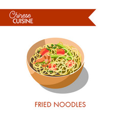 fried noodles in bowl isolated on white background vector image