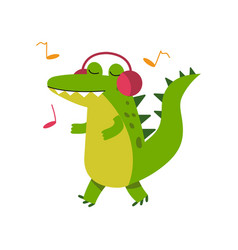 Funny cartoon crocodile character in headphones vector