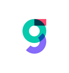 g letter logo overlapping color icon mark vector image