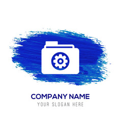 gear box icon - blue watercolor background vector image