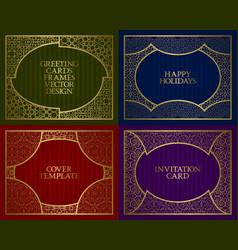 golden patterned frames set vintage design of vector image