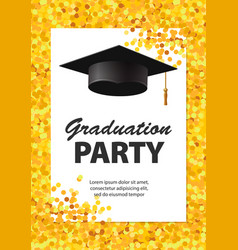 graduation party invitation card with golden vector image