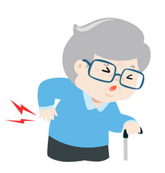 grandfather having back pain cartoon vector image