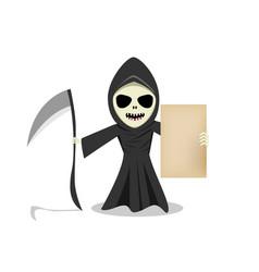 grim reaper show empty old paper vector image