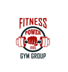 Gym icon of dumbbell for fitness sport club design vector