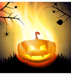 Halloween background with burning pumpkin vector image