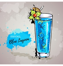 Hand drawn cocktail blue lagoon vector