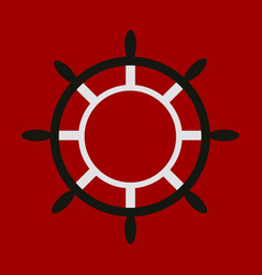 Hand drawn of ships wheel in line art style with vector