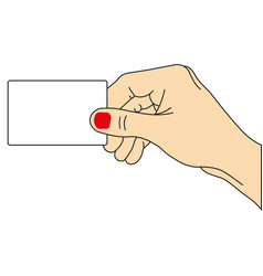 hand holding card vector image