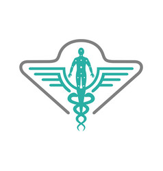 Health symbol logo design and people vector