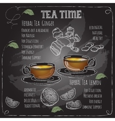 Herbal Tea Time card with cup teapot Lemon vector image