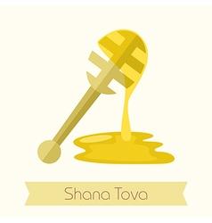 Honey dipper Rosh Hashanah icon Shana tova vector