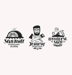 joinery sawmill label set woodwork shop icon or vector image