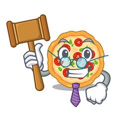 Judge margherita pizza in mascot shape vector