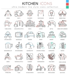 Kitchen color flat line outline icons for vector