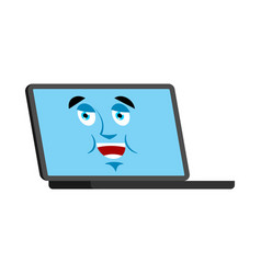 laptop happy emoji face avatar computer lucky vector image