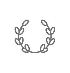 laurel wreath olive branch victory line icon vector image