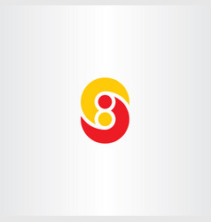 Letter s and number eight 8 s8 logo icon vector