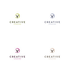 letter y circle leaf creative logo design vector image