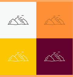 mountain landscape hill nature birds icon over vector image