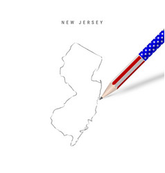 New jersey us state map pencil sketch new jersey vector