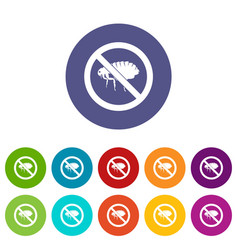 No flea sign set icons vector
