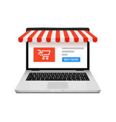 Online shop ecommerce store laptop buy vector
