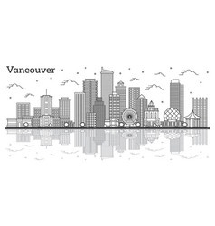 outline vancouver canada city skyline with modern vector image