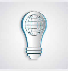 Paper cut light bulb with inside world globe icon vector