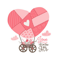 Patchwork hot air balloon in heart shape with vector