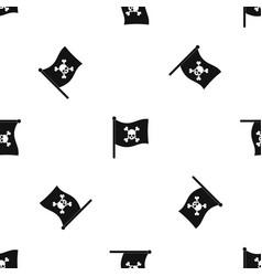 Pirate flag pattern seamless black vector