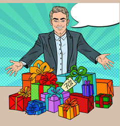 Pop art smiling seller with gift boxes vector